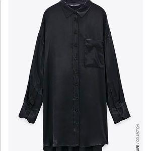 Zara Oversized Satin Effect Shirt